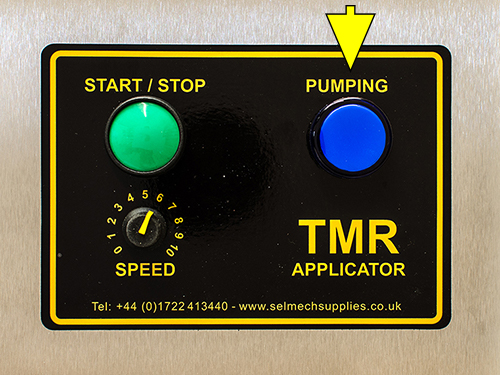 TMR applicator contol panel highlighting the indicator goes out when pumping stops