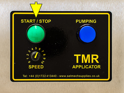 TMR applicator contol panel highlighting the start/stop button